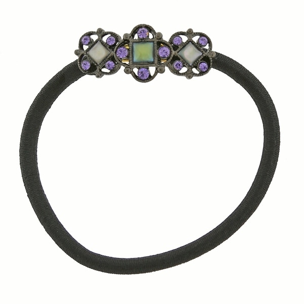 1928 Jewelry Black Tone Blue Mother of Pearl Ponytail Holder with Purple Swarovski Elements Crystals