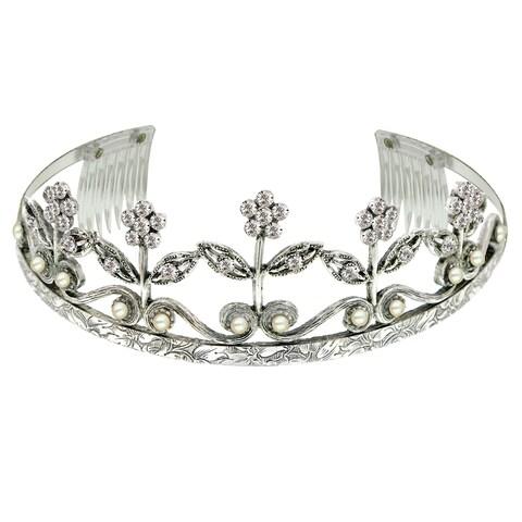 1928 Jewelry Silver Tone Crystal Flower Tiara
