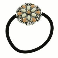 1928 Jewelry Silver Tone Ivory Color Flower Ponytail Holder with Swarovski Elements Crystals