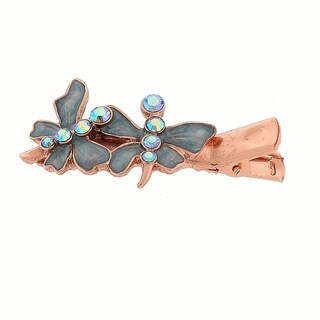 1928 Jewelry Copper Tone Light Blue Crystal AB and Pearlized Blue Enamel Butterfly Hair Clip