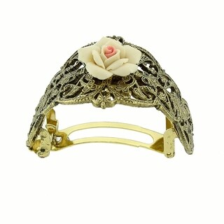 1928 Jewelry Gold Tone Ivory Porcelain Rose Ponytail Holder