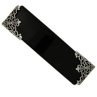 1928 Jewelry Black with Silver Tone Filigree Accent Bar Barrette