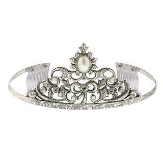 1928 Jewelry Silver Tone Crystal and Simulated Pearl Tiara