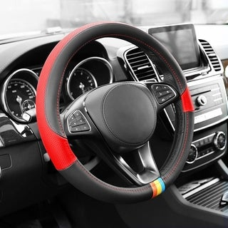 FH Group Red Full Spectrum Genuine Leather Steering Wheel Cover