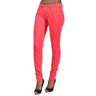 Women's 4 Pocket Solid Color Skinny Coral Jeans