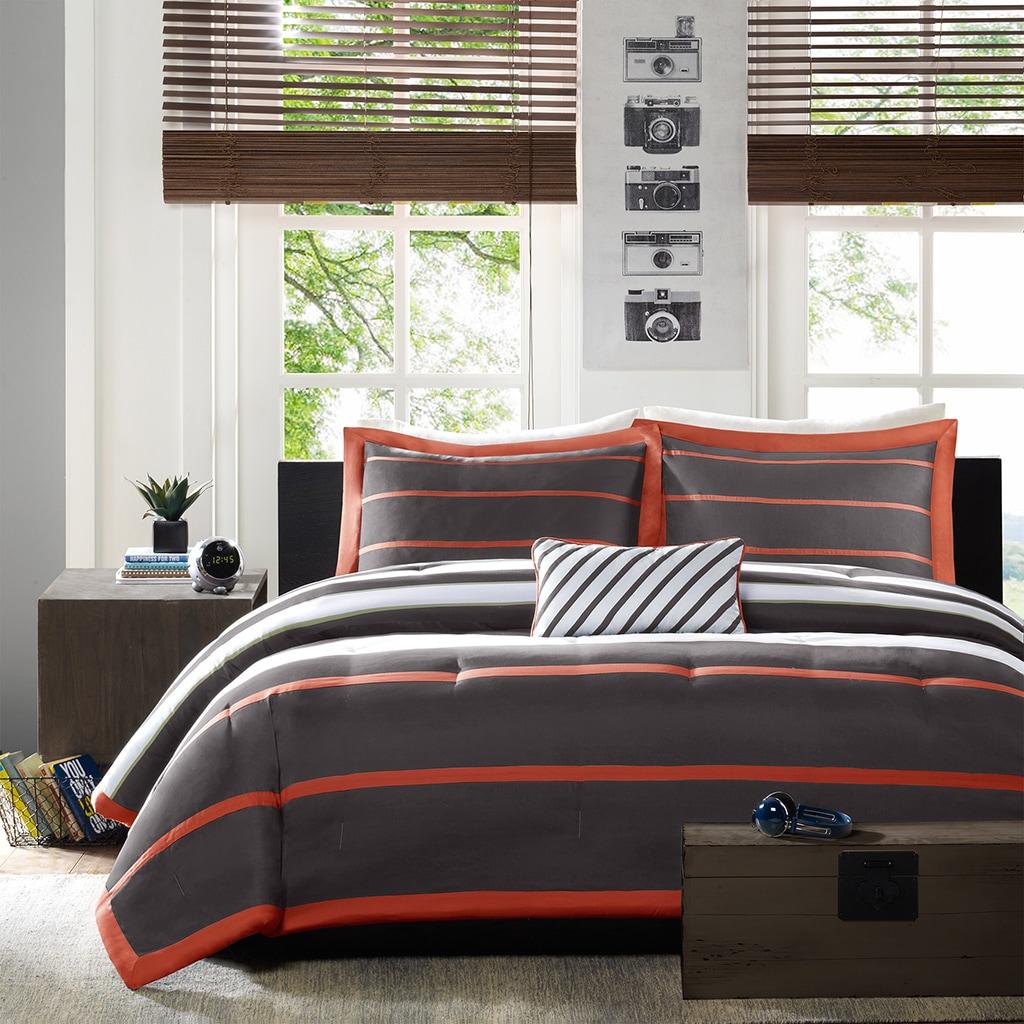 Mi Zone Jonah Striped Orange/ Grey Comforter Set (As Is I...