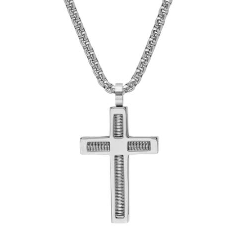 Steeltime Men's Stainless Steel Spring Inlay Cross Pendant in 3 Colors