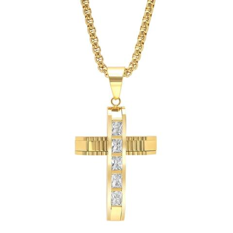 Steeltime Men's Gold Tone Stainless Steel Cross Pendant with Cubic Zirconia
