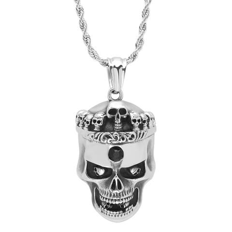 Steeltime Men's Stainless Steel Skull Pendant with Skull Crown and Black Cubic Zirconia Center Accent in 2 Colors