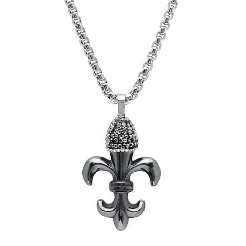 Steeltime Men's Stainless Steel Hematite Fleur-De-Lis Pendant with Cubic Zirconia