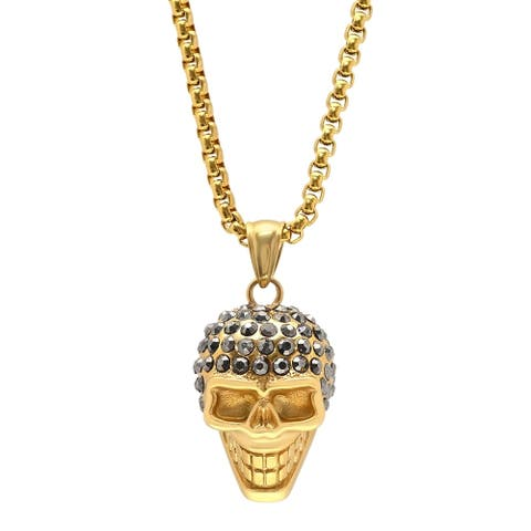 Steeltime Men's Stainless Steel Skull Head Pendant with Black Cubic Zirconia in 2 Colors