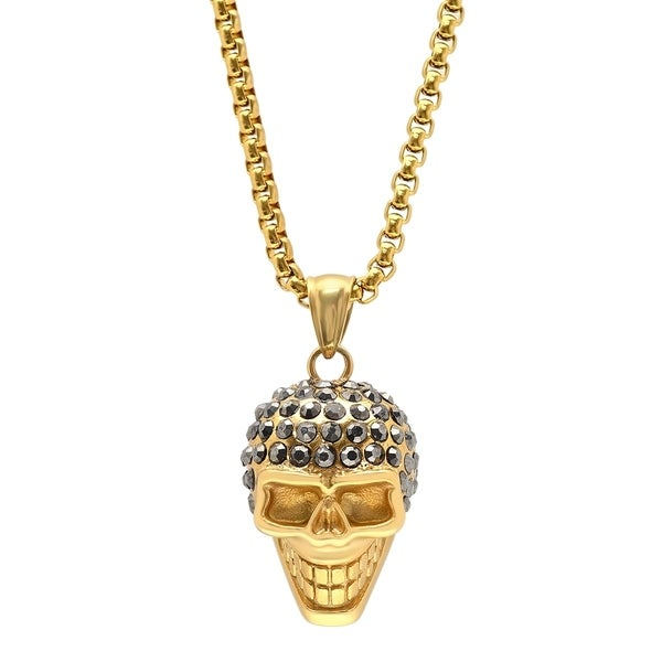 Steeltime Men's Stainless Steel Skull Head Pendant with Black Cubic Zirconia in 2 Colors. Opens flyout.