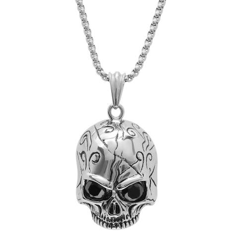 Steeltime Men's Stainless Steel Skull Pendant with Black Cubic Zirconia in 2 Colors