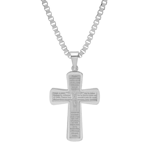 Steeltime Men's Stainless Steel Padre Nuestro Prayer Crucifix Pendant in 3 Colors