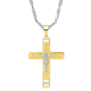 Steeltime Men's Stainless Steel Our Father Prayer Crucifix Pendant in 2 Colors