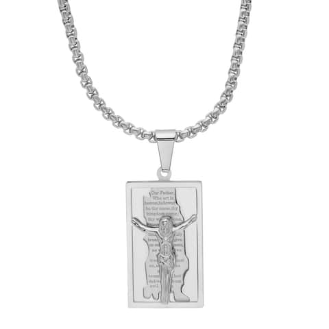 Steeltime Men's Stainless Steel Our Father Prayer Crucifix Dog Tag Pendant in 4 Colors