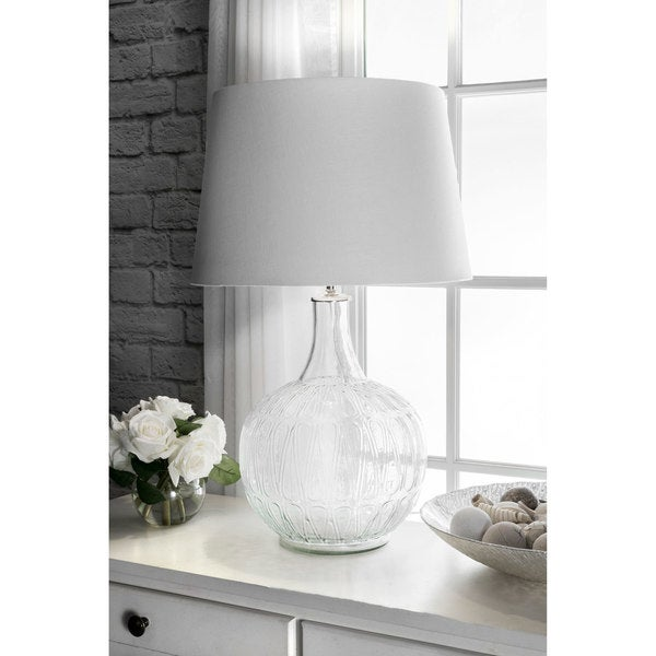 """Watch Hill 26"""" Sofia Glass Cotton Shade Clear Table Lamp - 24"""" h x 12"""" w x 12"""" d"""