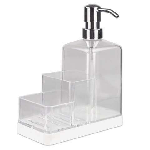 Sweet Home Collection Soap Dispenser and Sponge Caddy- Clear (16oz)