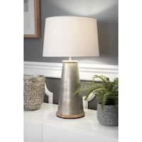 "Watch Hill 25"" Chloe Wood Metal Cotton Shade Nickel Table Lamp"