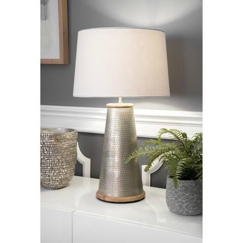 "nuLOOM 25"" Chloe Wood Metal Cotton Shade Nickel Table Lamp - 14""W x 13""D x 25""H"