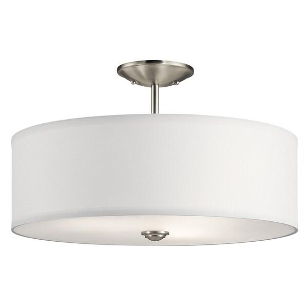 Kichler lighting shailene collection 3 light brushed nickel semi flush mount