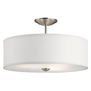 Kichler Lighting Shailene Collection 3-light Brushed Nickel Semi-Flush Mount