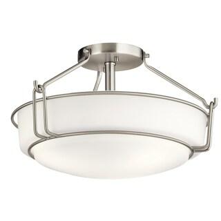 Kichler Lighting Alkire Collection 3-light Brushed Nickel Semi-Flush Mount