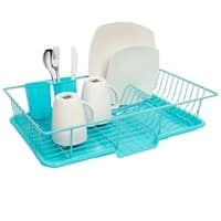 Sweet Home Collection 3 Piece Dish Drainer Set- Turquoise