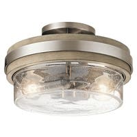 Kichler Lighting Grand Bank Collection 2-light Classic Pewter Semi-Flush Mount