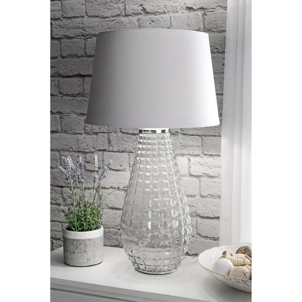Watch Hill 28-inch Avery Glass Cotton Shade Clear Table Lamp