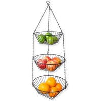 Sweet Home Collection 3 Tier Hanging Baskets- Black