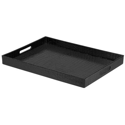 "Sweet Home Collection Black Crocodile Serving Tray (18""x13"")"