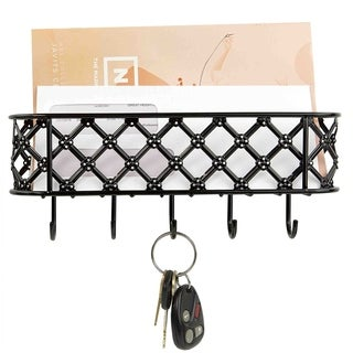 Sweet Home Collection Lattice Letter Rack- Black