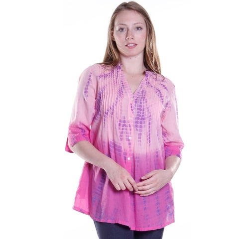 La Cera Women's 3/4 Sleeve Tie-Dye Tunic Top