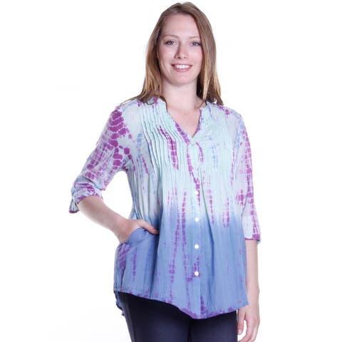 La Cera Women's 3/4 Sleeve Tie-Dye Tunic Top