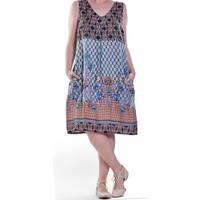 La Cera Women's Sleeveless V-Neck Printed Dress