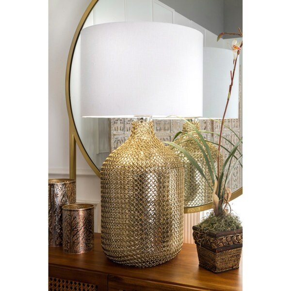 "Watch Hill 29"" Grace Gold Chained Glass Cotton Shade Clear Table Lamp - 22"" h x 10"" w x 10"" d"