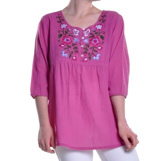La Cera Women's Short-Sleeve Embroidered Yoke Top
