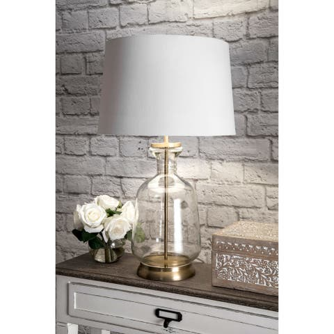 "nuLOOM 24"" Emma Clear Glass Cotton Shade Gold Table Lamp - 24"" h x 15"" w x 15"" d"