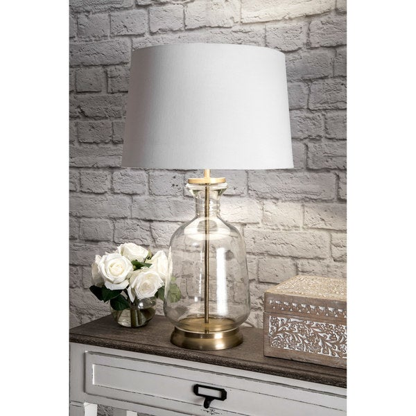 "Watch Hill 24"" Emma Clear Glass Cotton Shade Gold Table Lamp - 24"" h x 15"" w x 15"" d"