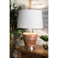 "Watch Hill 21"" Olivia Wood Cotton Shade Nickel Table Lamp - 21"" h x 14"" w x 14"" d"