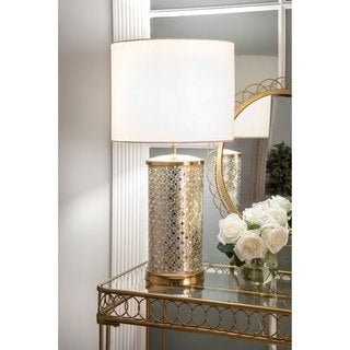 """Link to nuLOOM 25"""" Ava Mosaic Cotton Shade Silver Table Lamp Similar Items in Table Lamps"""