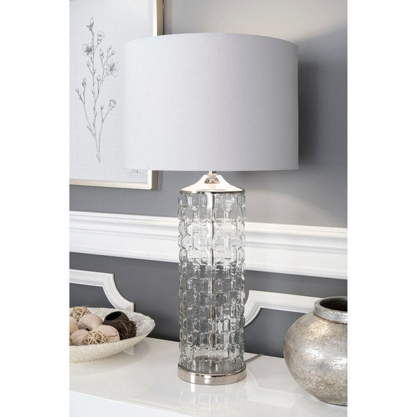 """Watch Hill 15"""" Mia Glass Cotton Shade Clear Table Lamp - 23"""" h x 6"""" w x 6"""" d"""