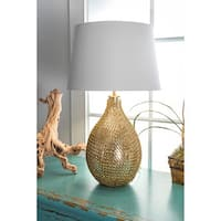 "Watch Hill 26"" Victoria Gold Chained Glass Cotton Shade Gold Table Lamp - 26"" h x 16"" w x 16"" d"