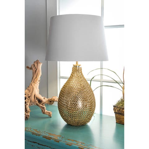 "nuLOOM 26"" Victoria Gold Chained Glass Cotton Shade Gold Table Lamp - 26"" h x 16"" w x 16"" d"
