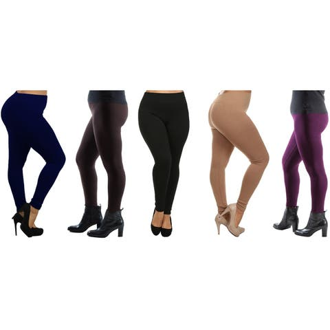 Women's Plus Size Fleece Lined Leggings (Sold as 4 & 5 Pack)