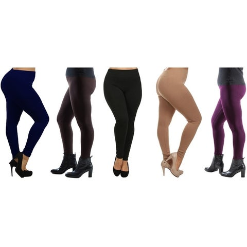 Women's Plus Size Fleece Lined Leggings (Pack of 5)