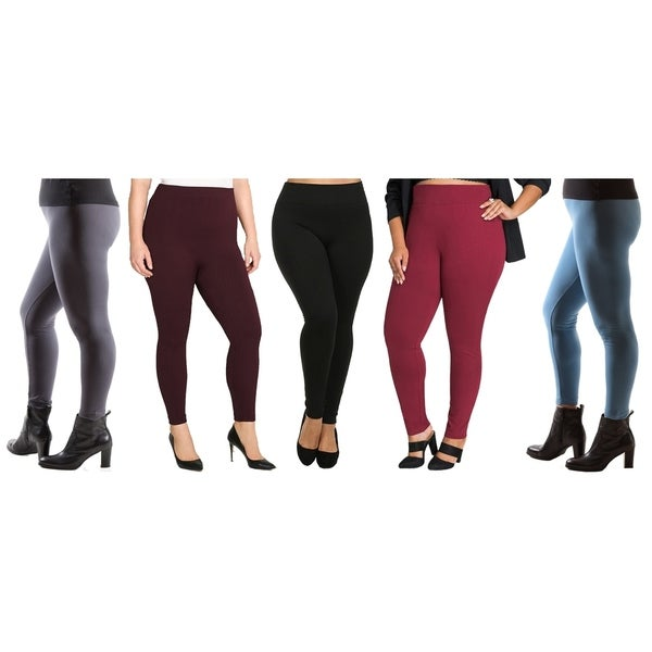 5e1482b33e5 Shop Women s Plus Size Fleece Lined Leggings (Pack of 5) - On Sale - Free  Shipping On Orders Over  45 - Overstock - 19549006