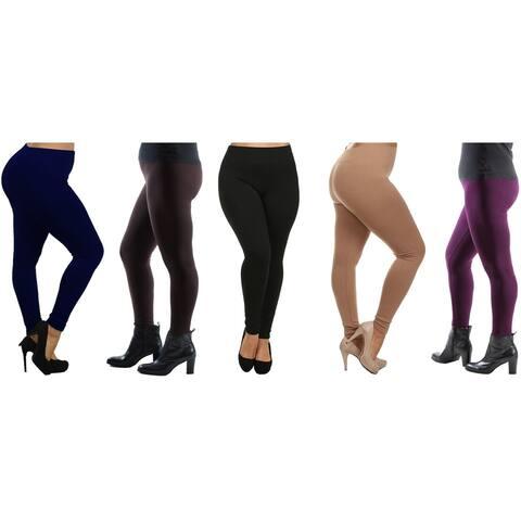Women's Plus Size Fleece Lined Leggings (Sold as 4 & 5 Pack)