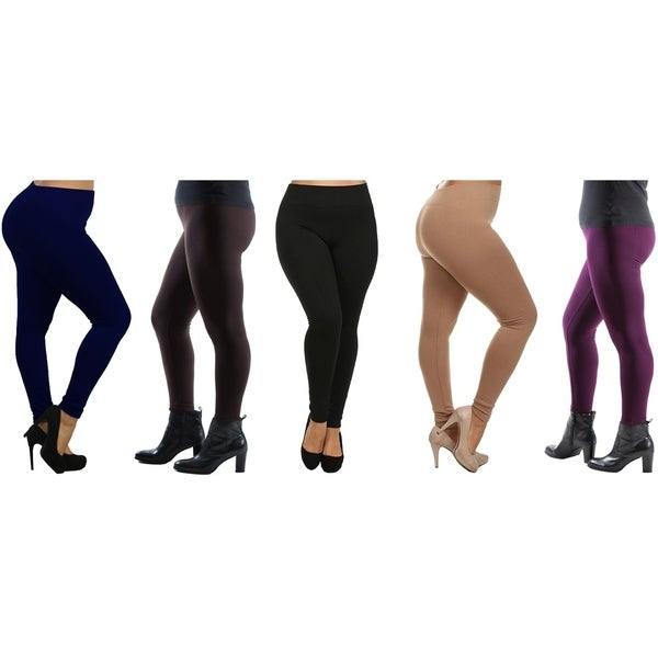 Women's Plus Size Fleece Lined Leggings (Sold as 4 & 5 Pack). Opens flyout.